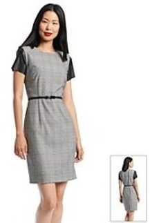 Calvin Klein Plaid Faux Leather Sleeve Shift Dress