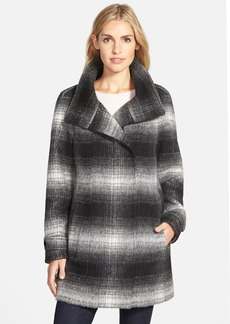 Calvin Klein Plaid Stand Collar Wool Blend Coat