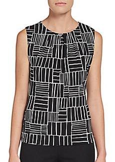 Calvin Klein Pleat-Neck Print Top