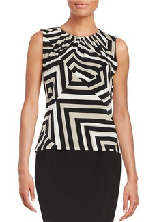 CALVIN KLEIN Pleated Geometric Blouse