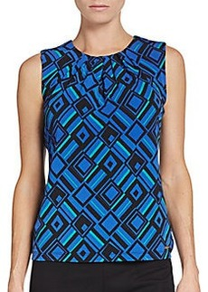 Calvin Klein Pleated-Neck Geo-Print Top