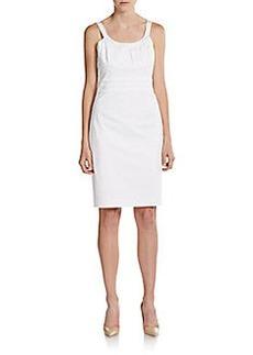 Calvin Klein Pleated Stretch-Cotton Dress