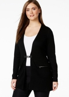 Calvin Klein Plus Size Buckle-Front Long Cardigan Sweater