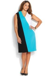 Calvin Klein Plus Size Colorblock V-Neck Sheath