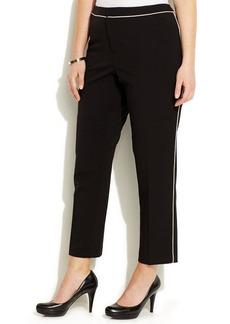 Calvin Klein Plus Size Contrast-Trim Ankle Pants