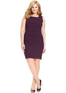 Calvin Klein Plus Size Dress, Sleeveless Pleated Scoop Neck Sheath