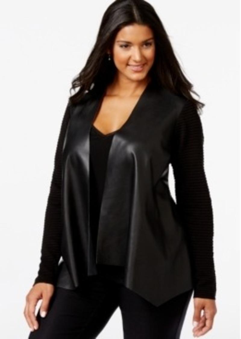 Faux Leather Front Drape Cardigan (Plus Size)