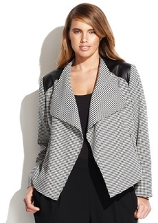 Calvin Klein Plus Size Faux-Leather-Trim Houndstooth Jacket