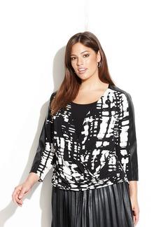 Calvin Klein Plus Size Faux-Leather-Trim Marble-Print Drape-Front Top
