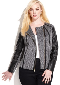 Calvin Klein Plus Size Faux-Leather-Trim Moto Jacket