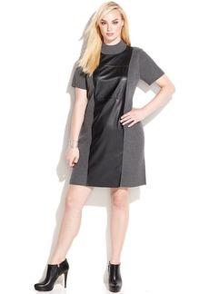 Calvin Klein Plus Size Faux-Leather-Trim Turtleneck Dress
