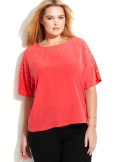 Calvin Klein Plus Size Grommet-Embellished Short-Sleeve Top