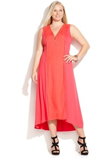 Calvin Klein Plus Size Half-Zip Colorblocked Maxi Dress