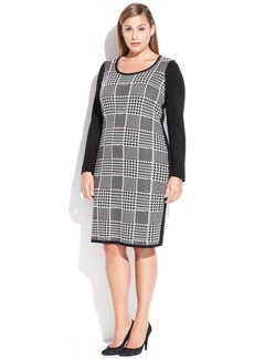 Calvin Klein Plus Size Houndstooth Colorblock Sweater Dress