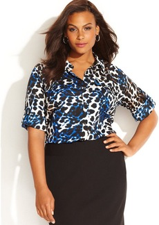 Calvin Klein Plus Size Houndstooth-Print Shirt