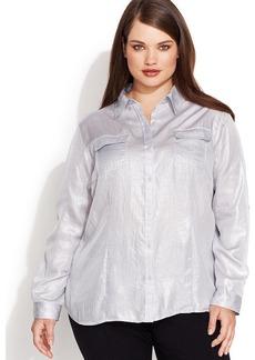 Calvin Klein Plus Size Long-Sleeve Button-Front Metallic Shirt