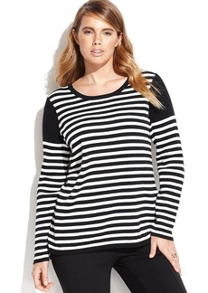 Calvin Klein Plus Size Long-Sleeve Striped Colorblocked Sweater