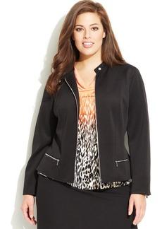 Calvin Klein Plus Size Moto-Style Scuba Blazer