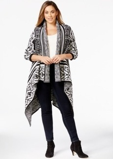Calvin Klein Plus Size Patterned Drape-Front Sweater Jacket