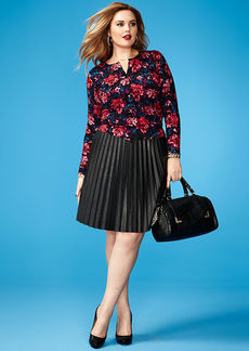 Calvin Klein Plus Size Pleated Faux-Leather Skirt
