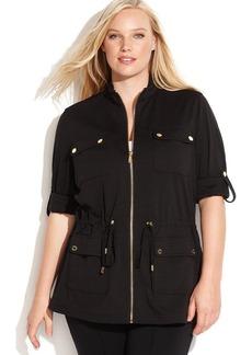 Calvin Klein Plus Size Ponte-Knit Anorak Jacket