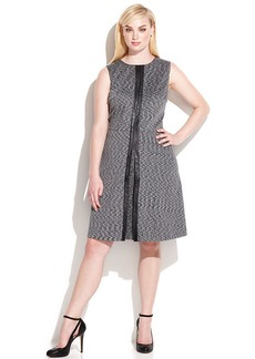 Calvin Klein Plus Size Printed Faux-Leather-Trim A-Line Dress