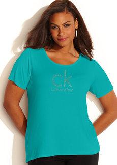 Calvin Klein Plus Size Rhinestone Logo Tee