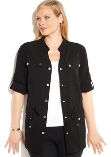 Calvin Klein Plus Size Roll-Tab-Sleeve Anorak
