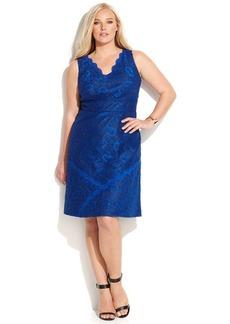Calvin Klein Plus Size Scalloped Metallic Lace Dress