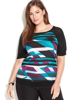 Calvin Klein Plus Size Semi-Sheer Geo-Print Top