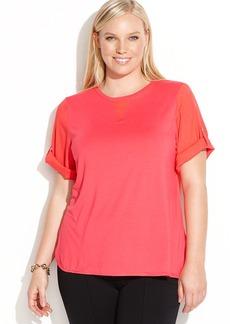 Calvin Klein Plus Size Short-Sleeve Colorblocked Top