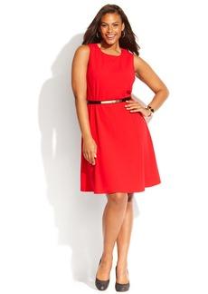 Calvin Klein Plus Size Sleeveless Belted Flared Dress