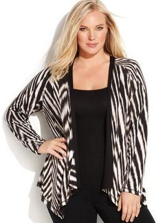 Calvin Klein Plus Size Striped Reversible Cardigan