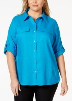 Calvin Klein Plus Size Tab-Sleeve Knit-Inset Shirt