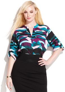 Calvin Klein Plus Size Tab-Sleeve Printed Shirt