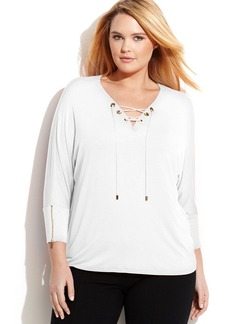 Calvin Klein Plus Size Three-Quarter-Sleeve Lace-Up Top