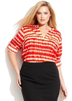 Calvin Klein Plus Size Three-Quarter-Sleeve Tie-Dyed Top