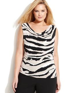 Calvin Klein Plus Size Tiger-Stripe Cowl-Neck Top
