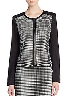 Calvin Klein Polka Dot Blocked-Sleeve Jacket