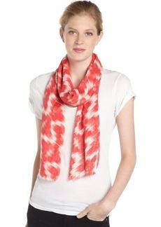 Calvin Klein pomegranate and white ikat print scarf