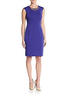 Calvin Klein Ponte Chain-Neck Sheath Dress