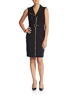 Calvin Klein Ponte Zip-Front Dress