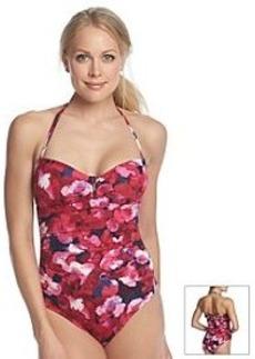 Calvin Klein Poppy Bar Floral Bandeau One Piece Swimsuit