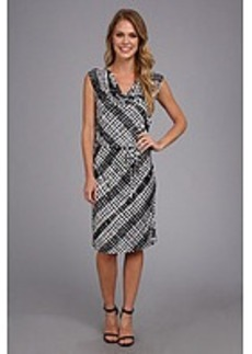 Calvin Klein Print Cowl Neck Short Dress
