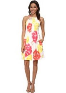 Calvin Klein Print Scuba Halter Dress