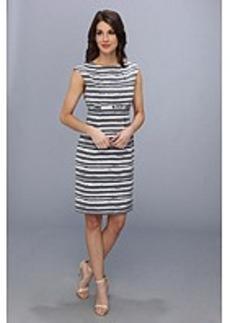 Calvin Klein Printed Belted Lux Sheath Dress