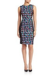 CALVIN KLEIN Printed Colorblocked Sheath Dress