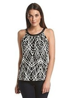 Calvin Klein Printed Halter Top With Faux Leather Trim