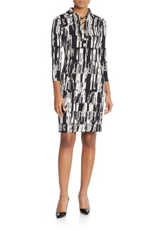 Calvin Klein Printed Lace-Up Dress