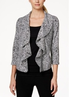 Calvin Klein Printed Open-Front Ruffled Jacket
